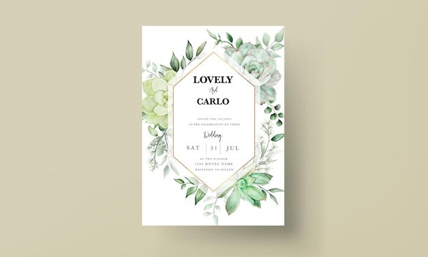 エレガントな緑の水彩画の花の結婚式の招待カード
