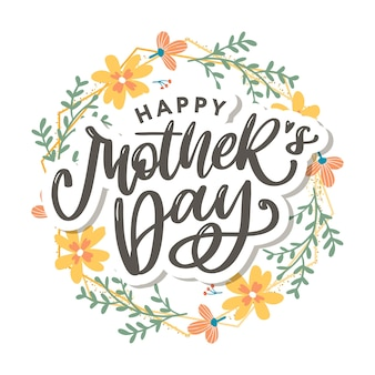 Elegant greeting card design with stylish text mother's day on colorful flowers