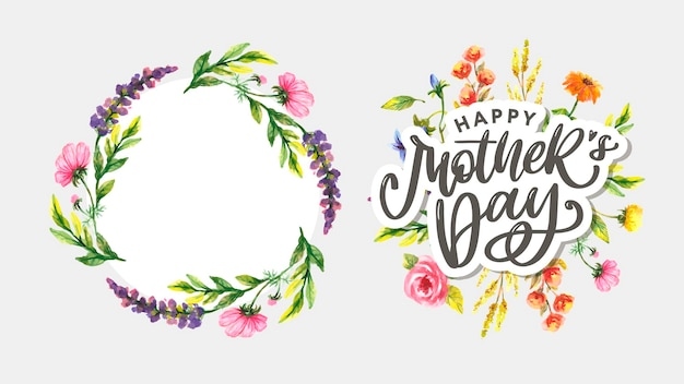 Elegant greeting design with stylish text mother's day on colorful flowers