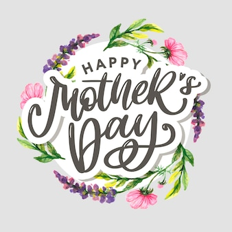 Elegant greeting text mother's day on colorful flowers