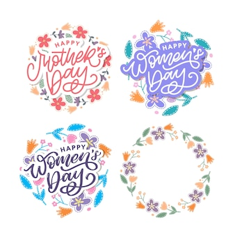 Elegant greeting text mother's day and women's day set