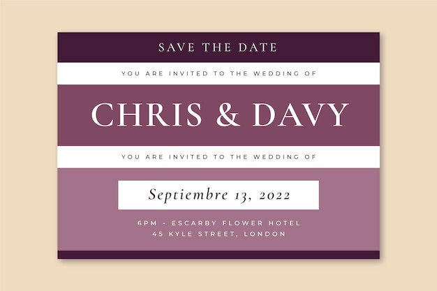 Elegante griglia salva la data dell'invito a nozze