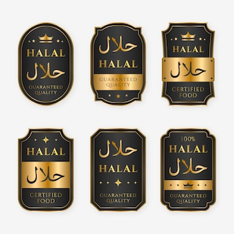 Elegant halal badges with golden details