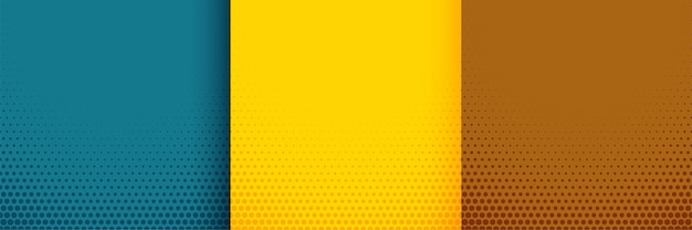 Elegant halftone background set in turquoise yellow and brown colors