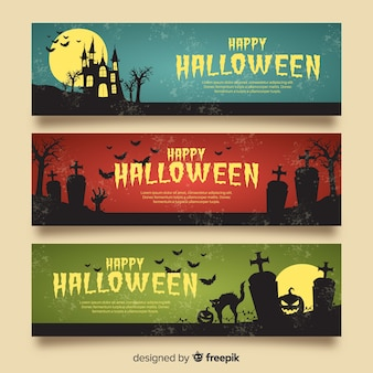 Elegant halloween banners with vintage style