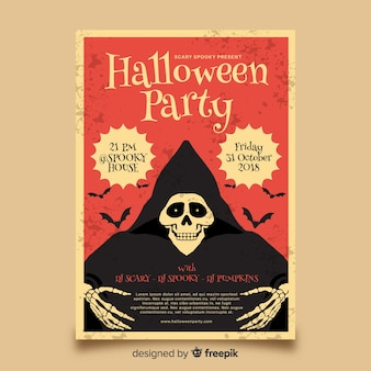 Elegant halloween party poster with vintage style