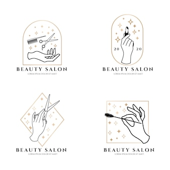 Elegant hand beauty salon logo luxury theme