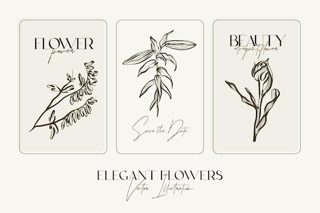 우아한 손으로 스케치 허브나 꽃을 그립니다.