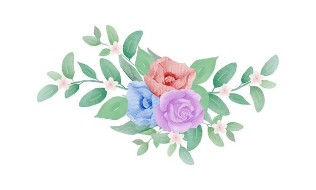 エレガントな手描き水彩花花束ベクトル