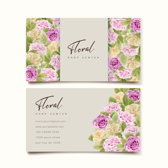 Elegant hand drawing business card with floral design