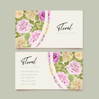 Elegante biglietto da visita disegno a mano con disegno floreale