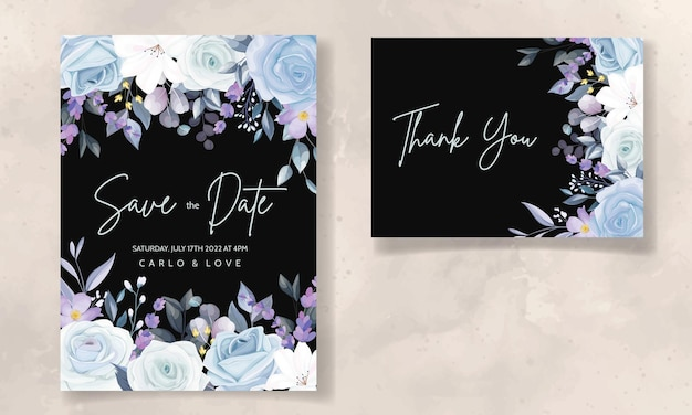 Elegant hand drawing ice blue floral wedding invitation card