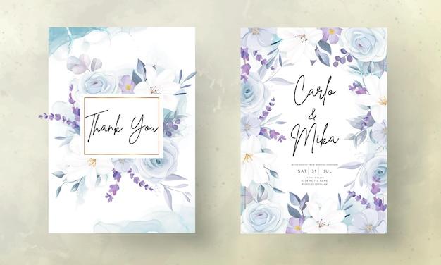 우아한 손을 그리기 얼음 파란색 꽃 결혼식 초대 카드