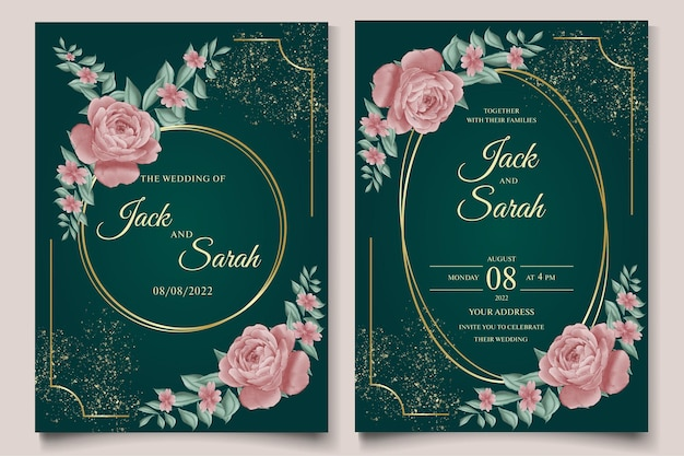 황금 장신구와 우아한 손 그리기 수채화 장미 결혼식 초대장 꽃 디자인 프리미엄