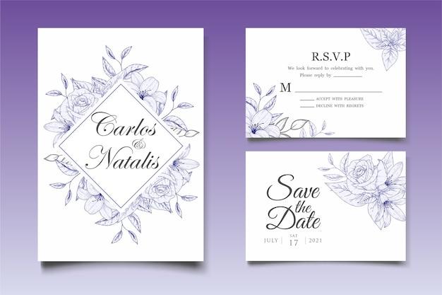 エレガントな手描きの結婚式の招待状の花のデザインテンプレート