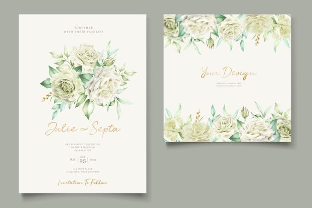 エレガントな手描きの結婚式の招待状の花柄