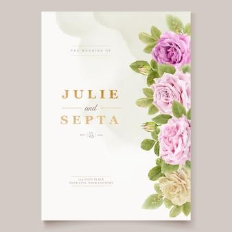 Elegant hand drawing wedding invitation floral design