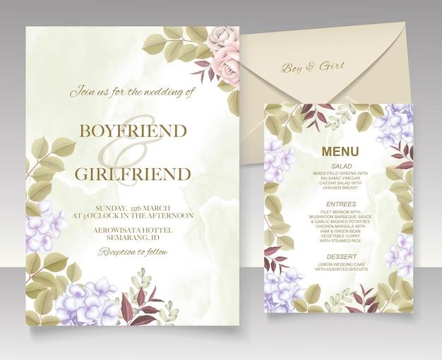 Элегантная рука рисунок свадебное приглашение цветочный дизайн