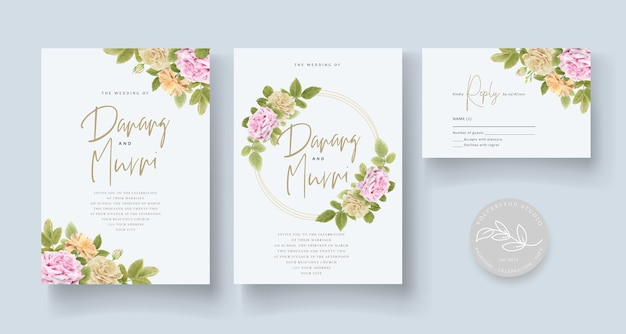 Элегантный ручной рисунок свадебные приглашения цветочные