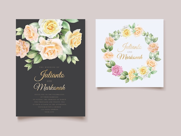 Elegant hand drawing wedding invitation floral