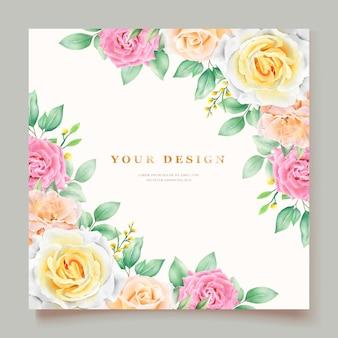 Elegant hand drawing wedding invitation floral