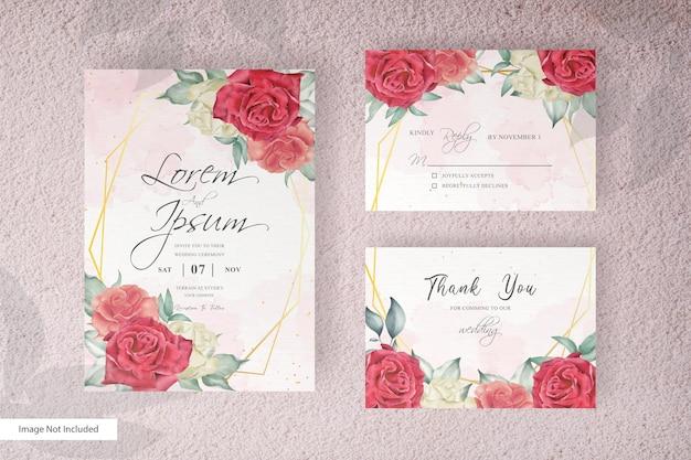 우아한 손으로 꽃과 잎 디자인 결혼식 초대장 템플릿 그리기 프리미엄 벡터