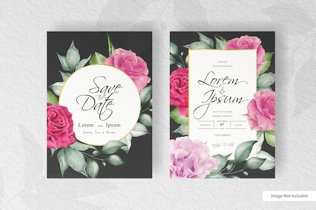 Элегантный ручной рисунок свадебного приглашения шаблон с дизайном цветов и листьев