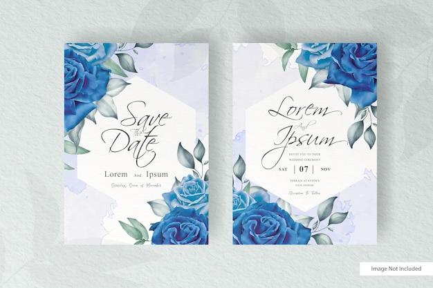 우아한 손으로 꽃과 잎 디자인 결혼식 초대장 템플릿 그리기