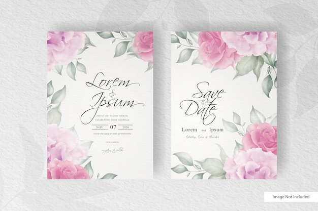 Elegant hand drawing wedding invitation template with flower and leaves design