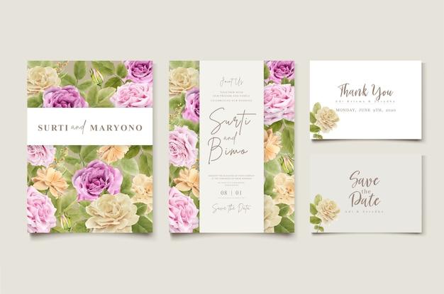 花柄のエレガントな手描きの結婚式の招待状