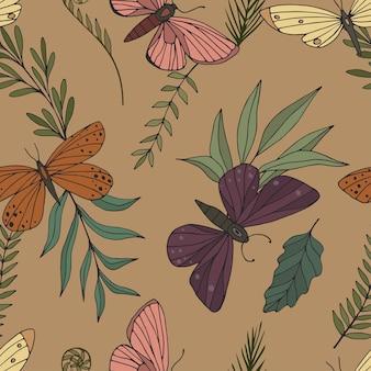 エレガントな手描きの蝶と蛾のシームレスなパターン