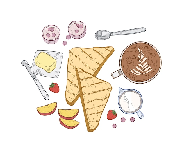 おいしい朝食の食事と健康的な朝の食べ物とエレガントな手描きの構成