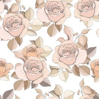 우아한 손으로 그린 꽃과 잎 원활한 패턴