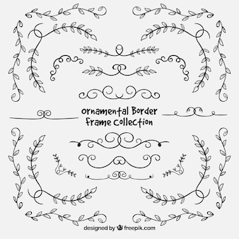 Elegant hand drawn floral borders
