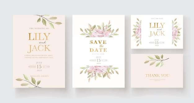Set di carte invito floreale disegnato a mano elegante