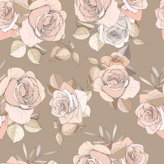 Elegant hand drawn floral and leaves seamless pattern