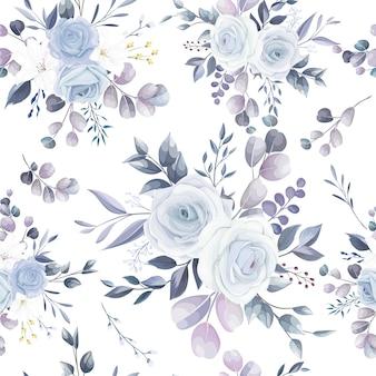 우아한 손으로 그린 꽃 완벽 한 패턴 디자인