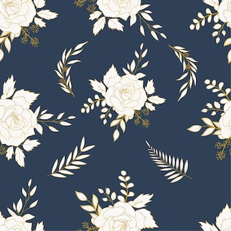 Elegant hand drawn floral seamless pattern