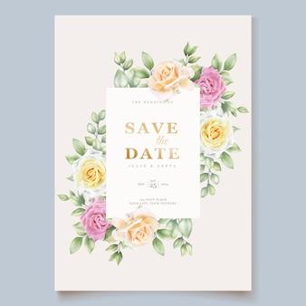Элегантная рисованная цветочная свадебная открытка