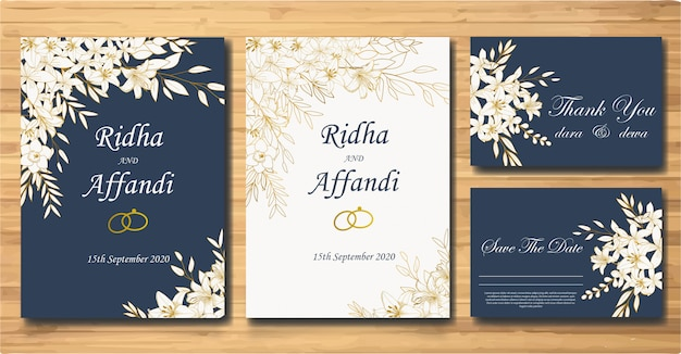 Elegant hand drawn floral wedding invitation card template set