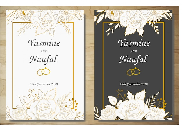 Elegant hand drawn floral wedding invitation card template