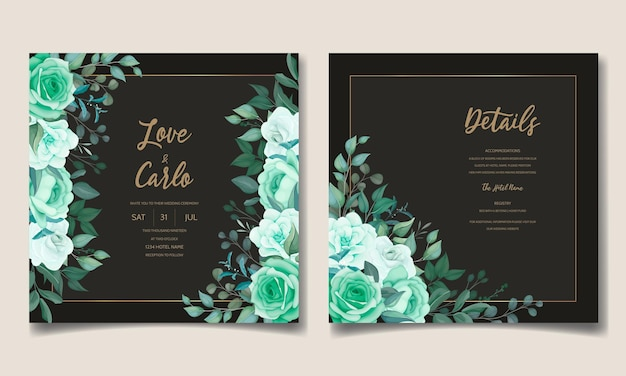 Elegant hand drawn floral wedding invitation card