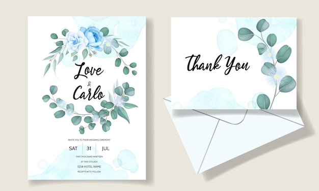 Elegant hand drawn floral wedding invitation card