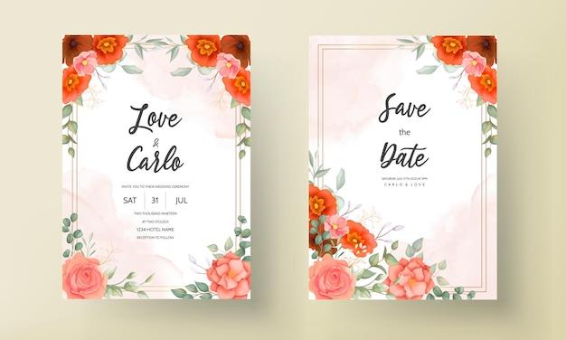우아한 손으로 그린 꽃 결혼식 초대 카드