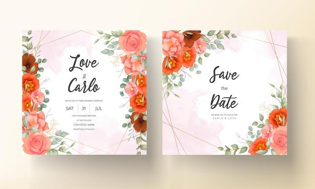 エレガントな手描きの花の結婚式の招待カード