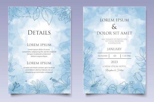 Элегантный рисованный цветочный шаблон свадебного приглашения