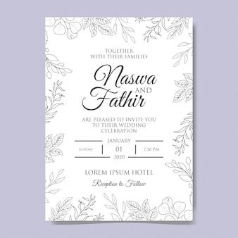 エレガントな手描きの花の結婚式の招待状のテンプレート