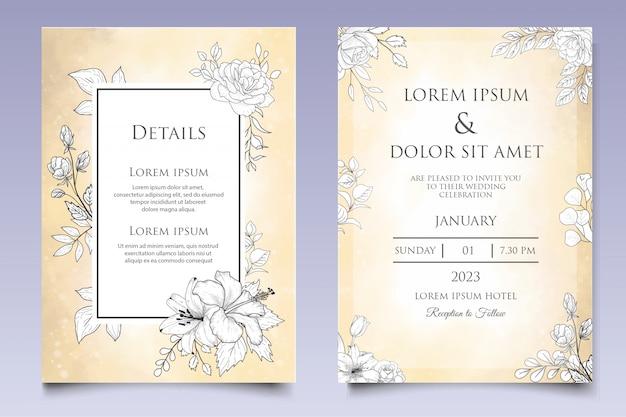 우아한 손으로 그린 꽃 결혼식 초대장 서식 파일