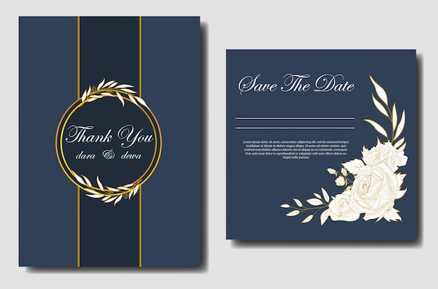 Elegant hand drawn floral wedding invitation