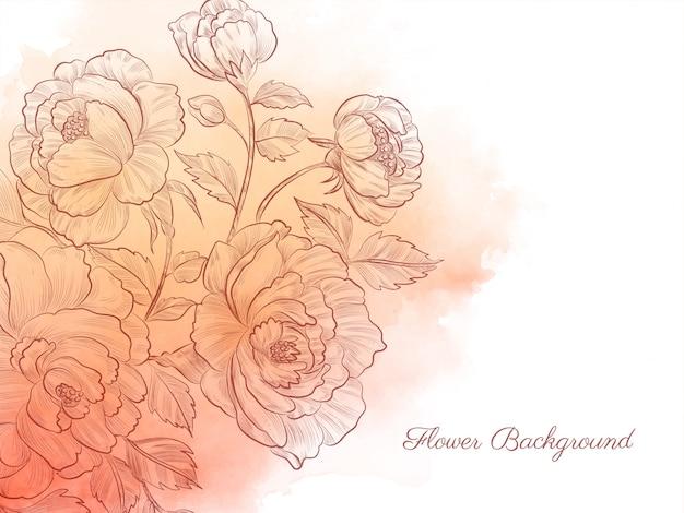 エレガントな手描きの花水彩パステル